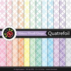 Set of 24 pastel colours & white digital papers with a quatrefoil lattice pattern. Great for crafts, scrapbooking and digital backgrounds. Available for instant download from Etsy.