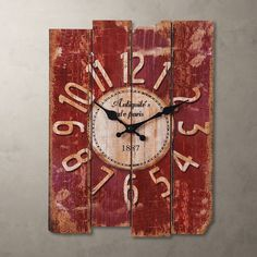 Decorative Shabby Wood Style Antique Art Wall Clock Vintage Rustic Home  Decor #wall Clocks #