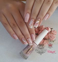 Natural Coffin Nail Art Designs Ideas are so perfect for Hope they can inspire you and read the article to get the gallery. Cute Acrylic Nail Designs, Cute Acrylic Nails, Cute Nails, Nail Art Designs, Sexy Nails, Glam Nails, Pink Nails, Gel Uv Nails, Luxury Nails