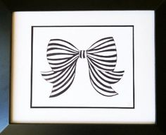 Black & White Striped Bow Watercolor Print By Mari Robeson on Etsy, $35.00
