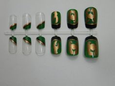 Manicure Monday: Loki-inspired nail set, by SpaceyWaceyCrafts Marvel Nails, Loki Cosplay, Loki Costume, Lady Loki, Nail Treatment, Glue On Nails, Paint Set, Nail Tips, Best Makeup Products