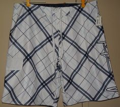 Aeropostale Men's Size 38 White Blue Plaid Stripped Bathing Suit Shorts New NWT #Aropostale #Trunks