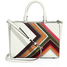 Tory Burch Robinson Multi-Stripe Leather Bag ($575) ❤ liked on Polyvore featuring bags, handbags, shoulder bags, apparel & accessories, new ivory, leather satchel, shoulder handbags, white leather purse, leather man bags and leather shoulder handbags