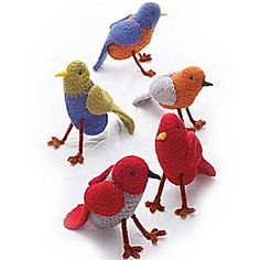 Felt yourself a whole flock of colorful chirpers. Perfect for holiday ornaments. (Lion Brand Yarn)