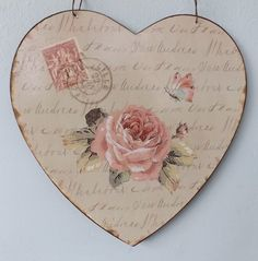 shabby chic heart magnet   Shabby Vintage French Chic Tin Plaque Lille Pink Rose Butterfly Metal ...