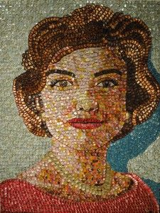 Molly B. Right, bottle cap portrait artist - Jackie Kennedy, 45 x 60