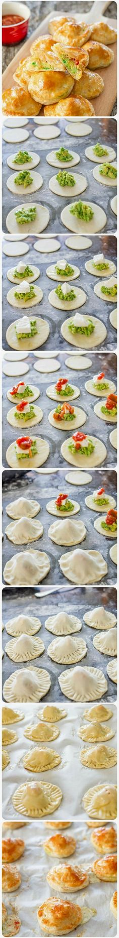 Avocado Mozza Puffs – little puff pastry morsels filled with mashed avocado, fresh mozzarella cheese and salsa. I wonder if I can sub the avocado with pesto? Think Food, I Love Food, Good Food, Yummy Food, Delicious Meals, Appetizer Dips, Appetizer Recipes, Snack Recipes, Cooking Recipes
