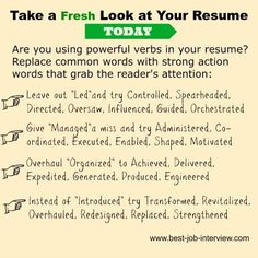 Resume action words to create a powerful and convincing resume. A full list of excellent resume action verbs to use in your job-winning resume and cover letter. Interview Answers, Job Interview Tips, Job Interview Questions, Job Interviews, Resume Advice, Resume Skills, Job Resume, Resume Ideas, Resume Action Words