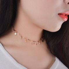 Trendy Crystal with Copper Stars Choker Necklace Fashion Tiny Stars and Crystal Neck Collar for Women Necklace Jewelry #Affiliate
