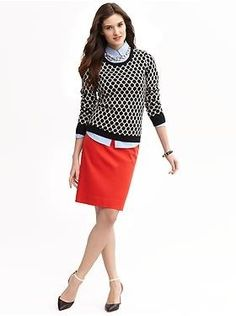 Black & white sweater, chambray shirt, red skirt....I'd wear this if I had a slimmer figure.