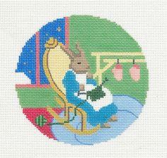 """Goodnight Moon"" & Grandma Bunny Silver Needle handpainted Needlepoint Canvas"