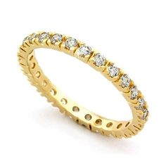 14K Gold-plated Wedding Band Ring / Eternity CZ Jewelry, VORI04-02221