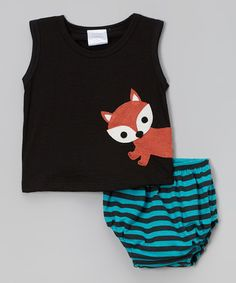 Look what I found on #zulily! Black Fox Tank & Teal Stripe Bloomers - Infant #zulilyfinds