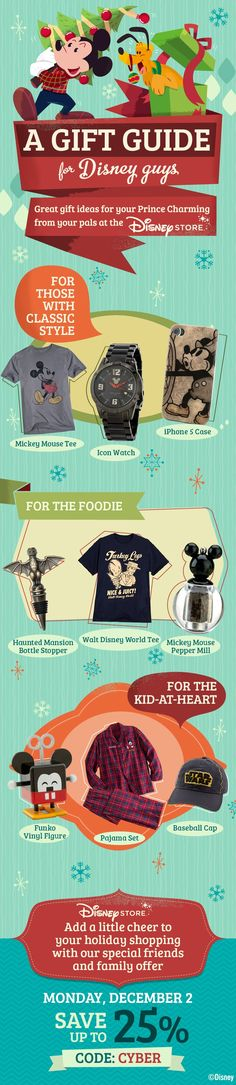 Here's some ideas for all your favorite men who love Disney!  #Christmas #HolidayShopping #WaltDisneyWorld