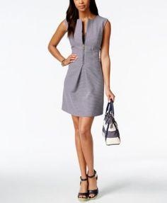 Tommy Hilfiger Striped Front-Zip Sheath Dress - Dresses - Women - Macy's