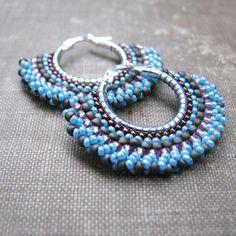 Light Blue Beaded Sterling Hoop Earrings with Pink by windyriver