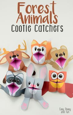 Forest Animals Cootie Catchers - Origami for Kids - Easy Peasy and Fun