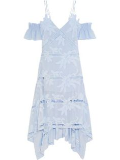 Self-Portrait Off-the-shoulder Embroidered Georgette Dress - Sky blue - ShopStyle Ruffle Sleeve Dress, Long Sleeve Floral Dress, Blue Midi Dress, Blue Gown, Dress Long, Lace Dress, Midi Skirt, Alexander Mcqueen, Nice Dresses