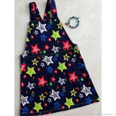 Купить Джинсовый сарафан для девочки - тёмно-синий, комбинированный, звезды, сарафан, сарафан для девочки