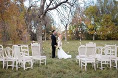 Mismatched white chairs