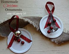 DIY Christmas ornaments are a great way to upcycle your old Mason or Ball jar canning lids. Easy enough for kids to help, these ornaments can be personalized for just about anyone on your gift list. #ornaments #DIY #Christmasornaments #canninglid Christmas Mason Jars, Diy Christmas Ornaments, Handmade Christmas, Holiday Crafts, Christmas Ideas, Mason Jar Projects, Mason Jar Crafts, Canning Lids, Jar Lids