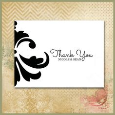 Thank You Card / Personalized Custom by WrappedToPerfection