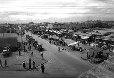 """Imagen del mercado Hidalgo y la calzada del Niño Perdido (hoy Eje Central """"Lazaro Cárdenas"""". Foto tomada en la década de los años 20's, muy cerca del centro histórico de la Ciudad de México."""