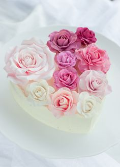 Rose colored heart cake.