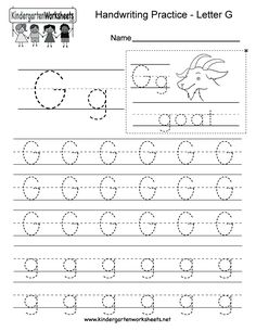 Letter G Writing Practice Worksheet. This series of handwriting alphabet worksheets can also be cut out to make an original alphabet booklet.