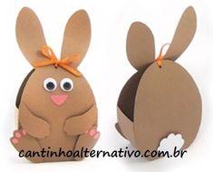 Olá amigos tudo certinho? Já dei a largada de postagens de páscoa lá na Fan page do blog Cantinho Alternativo, para quem não me segue por... Kids Crafts, Mothers Day Crafts For Kids, Bunny Crafts, Jar Crafts, Toddler Crafts, Easter Crafts, Diy And Crafts, Diy Paper Bag, Paper Gift Box