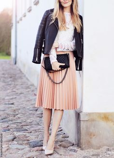 black leather jacket coral skirt white blouse nude heels. Street women fashion outfit clothing style apparel @roressclothes closet ideas