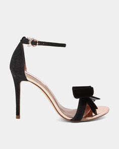 best service 647d7 bef6a Ted Baker BOWDALO Lurex velvet bow sandals Bow Sandals, Black Sandals,  Black Shoes,
