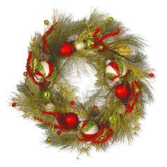 National Tree Company 30 in. Christmas Ornament Wreath with Red and Green - RAC-16009W30