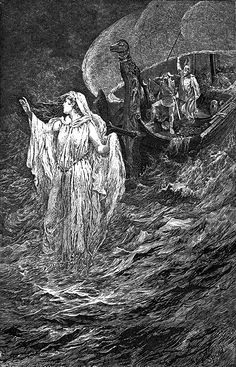 """Swanhild walks the seas. From """"Eric Brighteyes"""" (1891) illustrated by Lancelot Speed"""