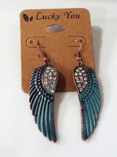 Cowgirl Bling TURQUOISE PATINA COPPER FEATHER WING EARRINGS Gypsy Southwest #LUCKYYOU #dangleearringspierced