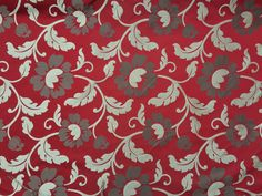 Red Messina Floral flowers heavy Upholstery by TheFabricShopUK