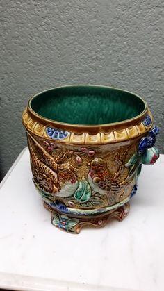 French Majolica Jardine Vase  www.ashersantiques.com #Vase #antiques #antique #French