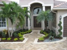 Get guidelines for enjoying a stunning Florida Gardening, landscape, or front yard. Our professionals inform you everything you need to florida gardening flowers Front Yard Walkway, Garden Design, Florida Landscaping, Landscaping Tips, Front Garden Design, Palm Trees Landscaping, Exterior