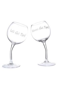 Big Mouth Toys 'Let's Get Tipsy' Wine Glasses (Set of 2) | Nordstrom
