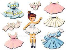 Esta es una bonita muñecarecortable o muñeca de papel que puedes imprimir y luego cortar. Tiene un aire de los años 50, me gusta mucho que...