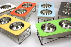 Dog Cat Pet Food and Water Feeder / Bowl Holder  by modernmews, $68.00
