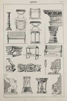 Roman or Italian Furniture Designs Large Antique by PaperPopinjay - March 02 2019 at Italian Furniture Design, Classic Furniture, Furniture Styles, Antique Furniture, Diy Furniture, Kitchen Furniture, Art Romain, Interior Design History, Rome Antique