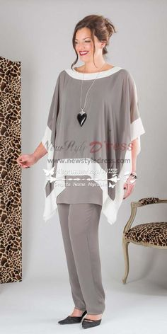 Occasion Wear Find More Mother of the Bride Dresses Information about fashion Gray three piece Chiffon mother of the bride pants suit plus size trousers set. Wedding Dresses Plus Size, Trendy Dresses, Plus Size Dresses, Plus Size Outfits, Bride Dresses, Dress Wedding, Cheap Dresses, Wedding Flowers, Plus Size Womens Clothing