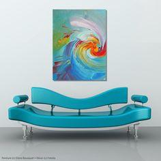 """#peinture #painting #art #decoration #interiordesign """"La neuvième vague"""" /'The Ninth Wave' (c) Eliora Bousquet [Photo du décor (c) Fotolia] Photomontage, Bousquet, Fiction, Les Oeuvres, Illustration, Creations, Photos, Night, Decoration"""