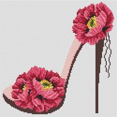 The flower cross stitch pattern. Shoe girl counted cross stitch chart. Instant download PDF. This listing is for a PDF pattern, instantly downloadable after purchase, so you can start stitching right away! The modern decor of the room of the girl. Design 97. Flower cross stitch Small Cross Stitch, Cross Stitch Flowers, Simple Embroidery, Floral Embroidery, Cross Stitching, Cross Stitch Embroidery, Flower Shoes, Modern Cross Stitch Patterns, Hobbies And Crafts