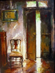 Russian artist Gleb Goloubetski | Interior 100x80 2000 — with Adrian Gerardo Catalani.