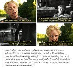 Gwendoline Christie on Brienne, I'm so happy they found this actress for this character.  She is so incredibly talented and I always really enjoy hearing her insights on Brienne.  This was particularly cool because even reading the book I'm not entirely sure that I fully understood this moment