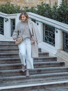 Winter Whites - so trägst Du Weiß im Winter - Summer Sun, Spring Summer, Basic Outfits, Different Styles, White Jeans, Coat, Girls, Jackets, Fashion