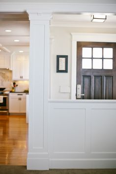 :: Havens South Designs :: loves well done architectural details. Tiek Buiders did this. Craftsman Columns, Craftsman Door, Craftsman Style, Shaker Trim, Trim Work, Living Room Remodel, Kitchen Remodel, Wainscoting Kitchen, Painted Wainscoting