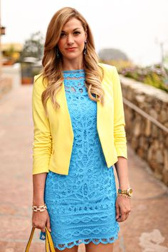 Blue lace dress - yellow jacket - business wear - work wear = hot